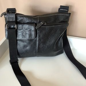Roots leather front crossbody